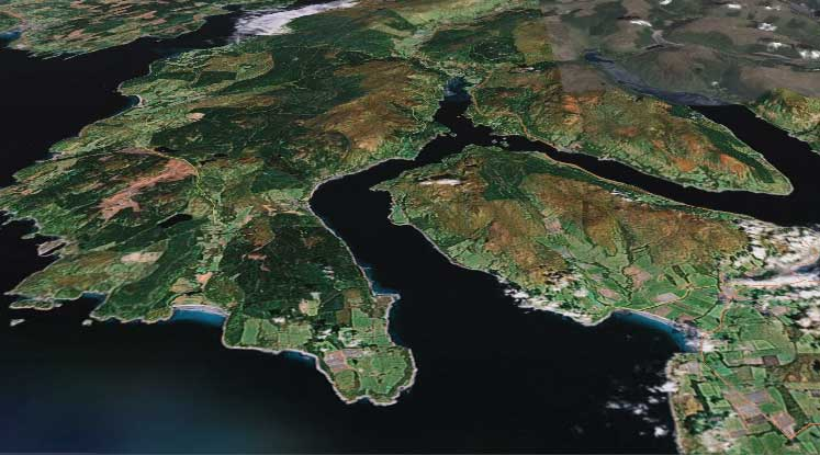 Google Earth view of the Kyles of Bute